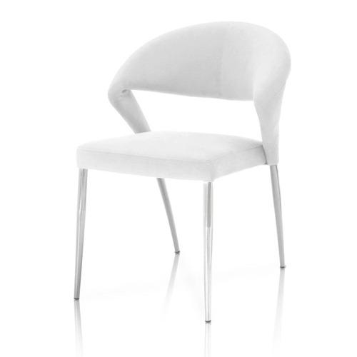 Saskia Dining Chair White on Chrome - Set of 2
