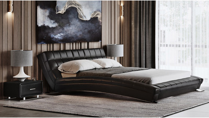 Adonis Leather Bed - Black