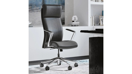 Draper Leather Executive Chair - Dark Grey