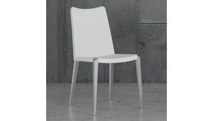 Jordan Dining Chair - White / Brushed Stainless
