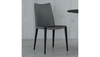 Jordan Dining Chair - Dark Gray / Matte Black Steel