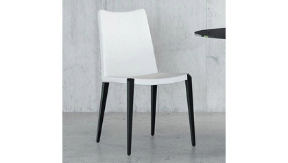 Jordan Dining Chair - White / Matte Black Steel