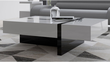 "Mcintosh 47"" Rectangle Coffee Table - White and Black"