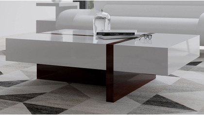 "Mcintosh 47"" Rectangle Coffee Table - White and Ebony"