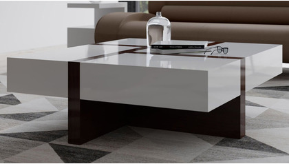 "McIntosh 40"" Square Coffee Table - White and Ebony"