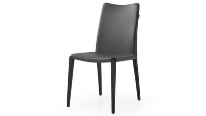 Jordan Dining Chair - Dark Grey / Matte Black Steel