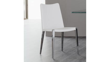 Jordan Dining Chair - White / Polished Stainless