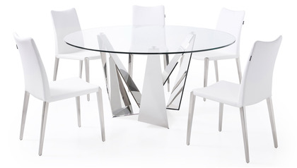 Serra 59 Inch Round Dining Table - Clear