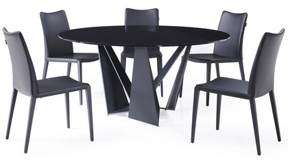 Serra 59 Inch Round Dining Table - Smoked