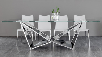 "Serra 94"" Clear Dining Table Set with Chairs"