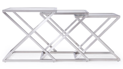 Zafiro Nesting Side Tables - Brushed Stainless