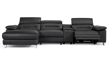 Monaco Reclining Sectional with Console - Black
