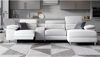 Monaco Reclining Sectional with Console - White