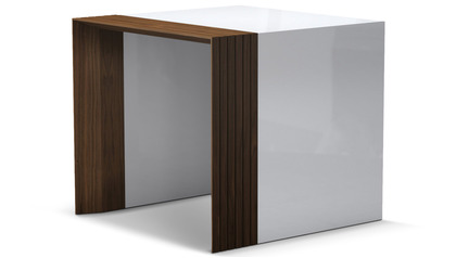 Badan Side Table - Walnut and White