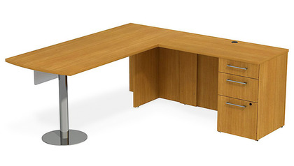 Realize Peninsula Desk in L-Configuration + Glass Modesty Panel + Pedestal