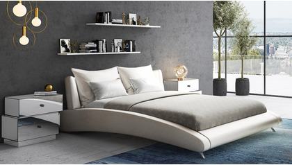 Cadillac Leather Bed - Ivory