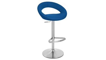 Crescent Dark Blue Bar Stool