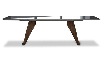 Davies 106 Inch Dining Table - Titanium on Walnut
