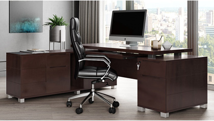 Ford Desk with Return - Dark