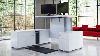 Ford Adjustable Height Desk with Return - White