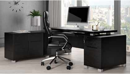 Ford Desk with Return - Black