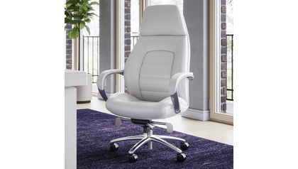 Gates Leather Executive Chair-White