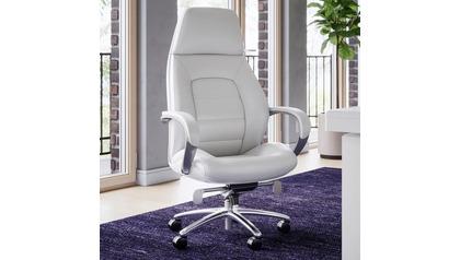 Gates Leather Executive Chair-White