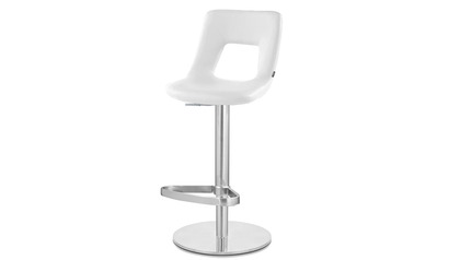 White Jazz Bar Stool - Round Flat Base