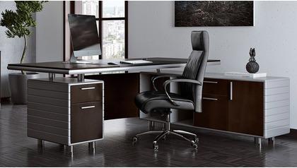 Kennedy Desk with Return - Dark