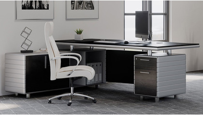 Kennedy Desk with Return - Black