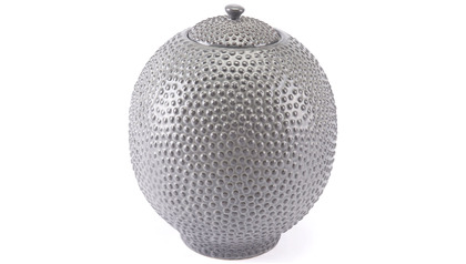 Large Round Stipple Gray Jar