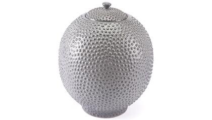 Large Round Stipple Gray Jar