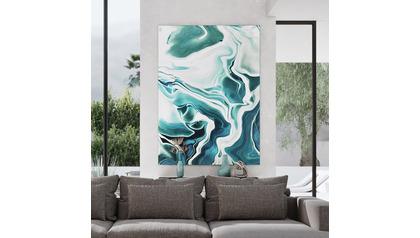 "Liquid Teal Canvas Art - 96"" x 70"""