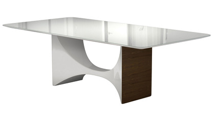 Cambrie 95 Inch Dining Table - White on Walnut