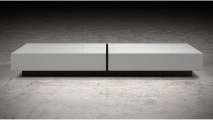 Dael 63 inch Coffee Table - White Lacquer on Black Oak