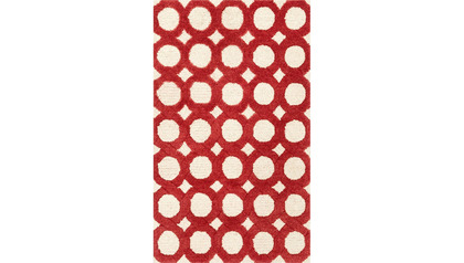 Nautilus Ivory and Red Rug