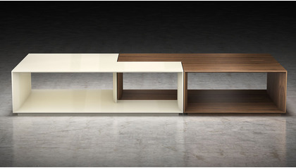 Priam Coffee Table - Walnut and Beige