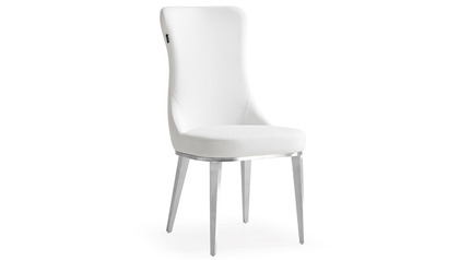 Norma White Dining Chair - Brushed Stainless Steel