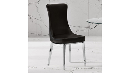 Norma Black Dining Chair - Polished Stainless Steel