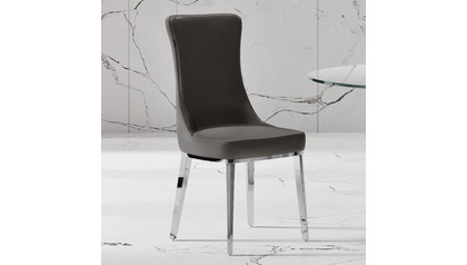 Norma Dark Gray Dining Chair - Polished Stainless Steel