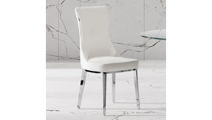 Norma White Dining Chair - Polished Stainless Steel