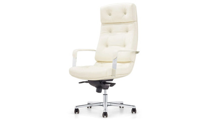 Perot Leather Executive Chair-Cream