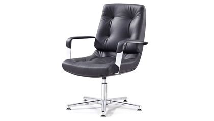 Perot Leather Guest Chair-Black