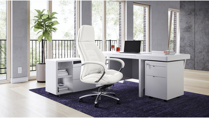 Quincy Desk with Return - White