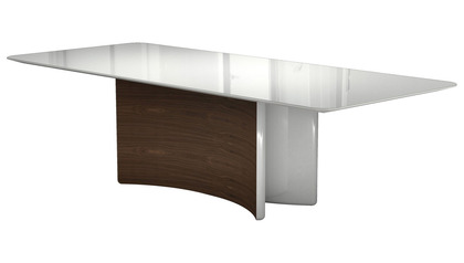 Rakel 106 Inch Dining Table - White on Walnut