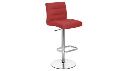 Red Lush Bar Stool - Chrome