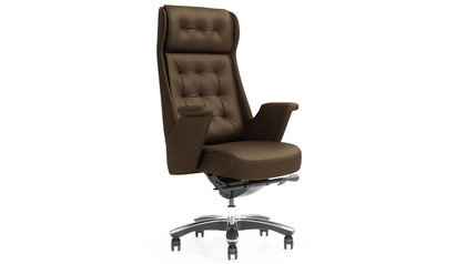 Rockefeller Leather Executive Chair - Dark Brown
