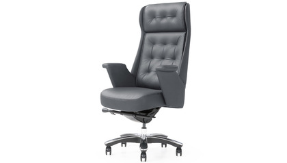 Rockefeller Leather Executive Chair - Dark Gray