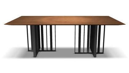Saida 87 Inch Dining Table - Walnut on Graphite