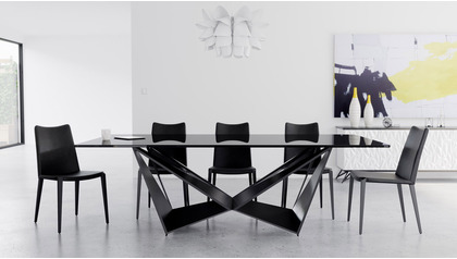 "Serra 94"" Smoked Dining Table Set with Chairs"
